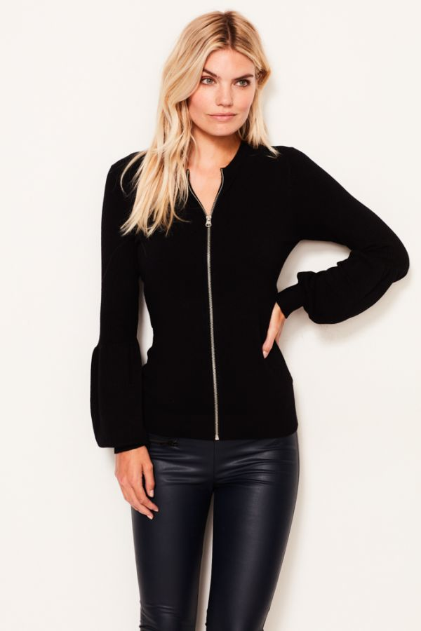 Black Knitted Zip Front Cardigan