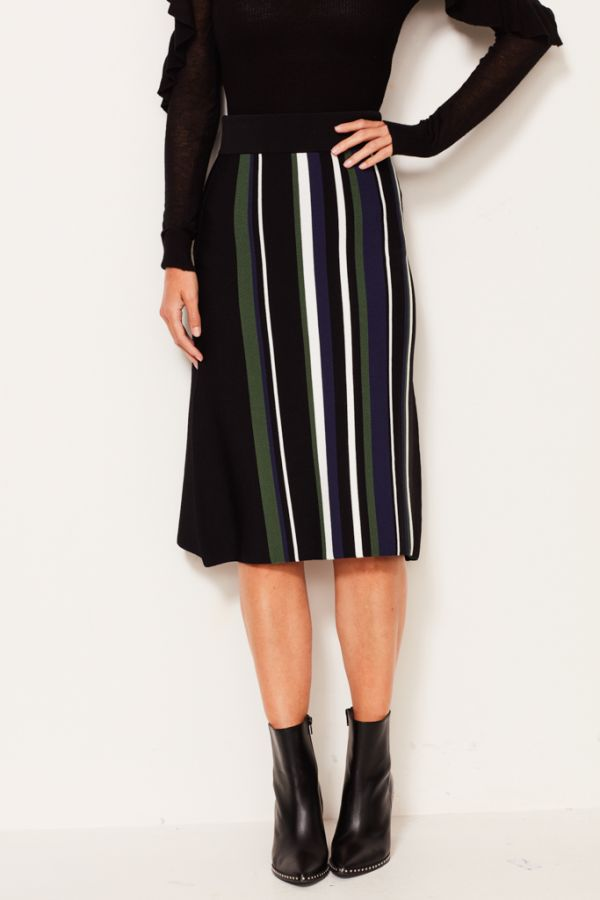 Black Co Ord Striped Knitted Skirt