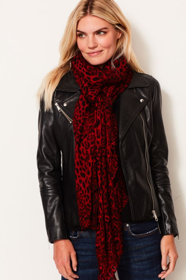 Red Leopard Print Scarf