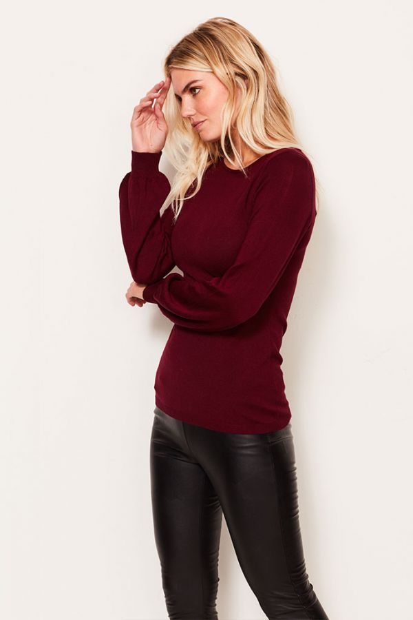 Wine Blouson Sleeve Fine Knit Jumper