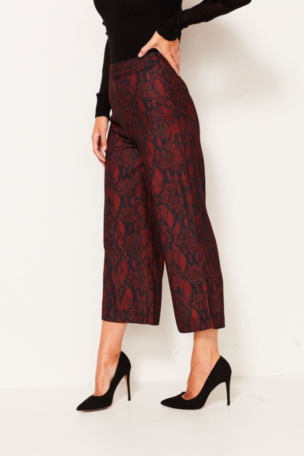 Red Python Print Wide Leg Crop Trouser