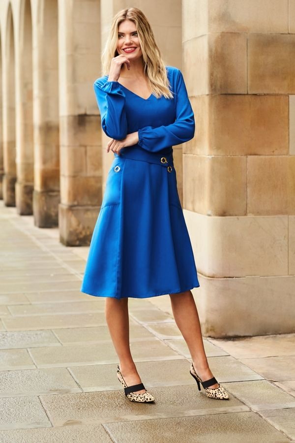 Bright Blue Eyelet Detail Fit & Flare Dress