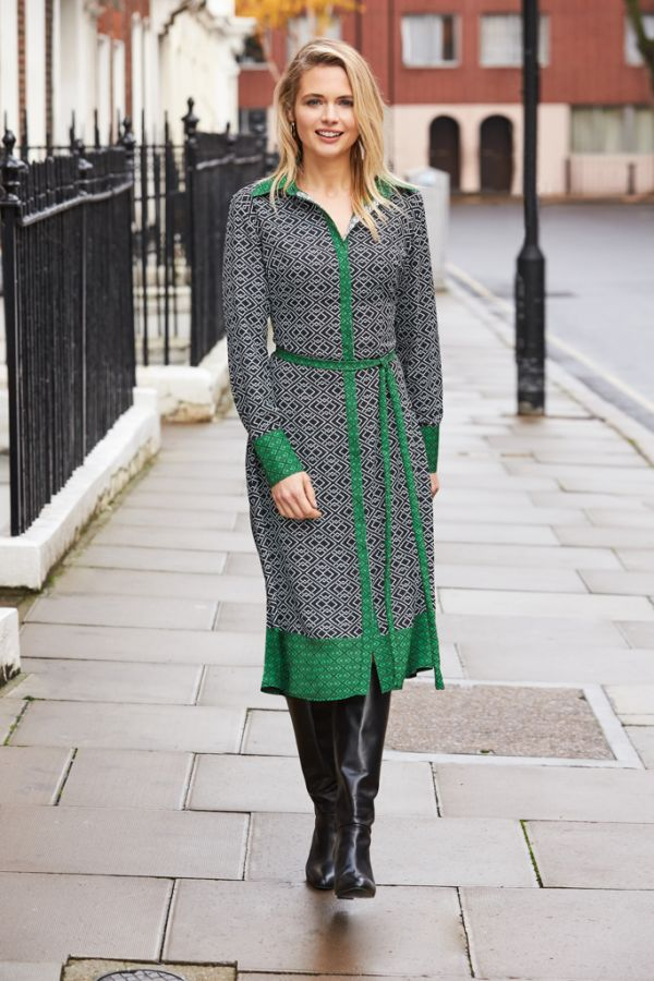 Black & Green Deco Print Shirt Dress