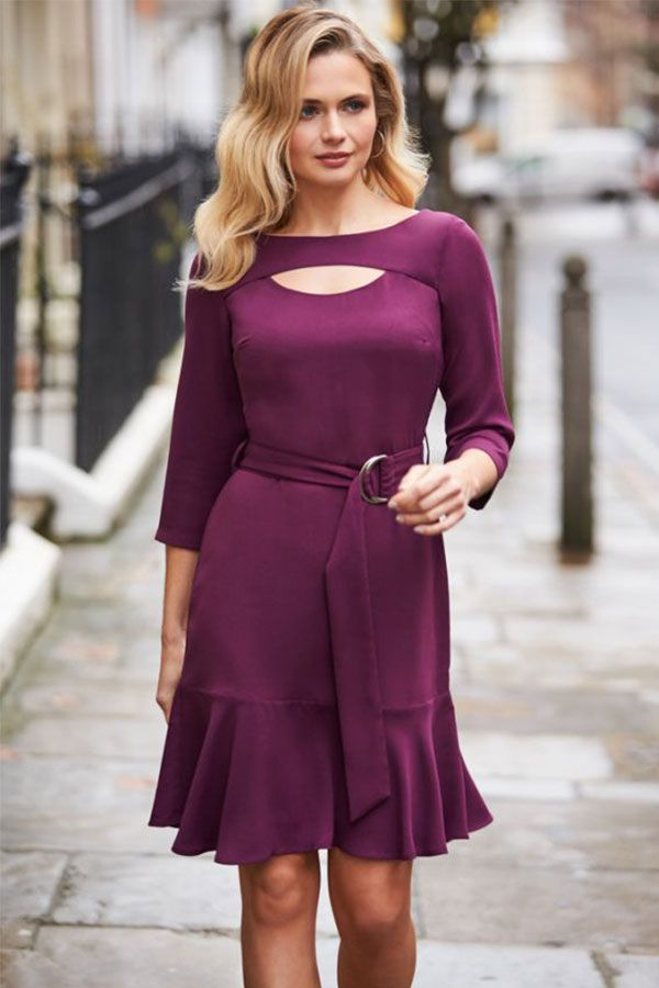 Dark Berry Cut Out Fit & Flare Dress