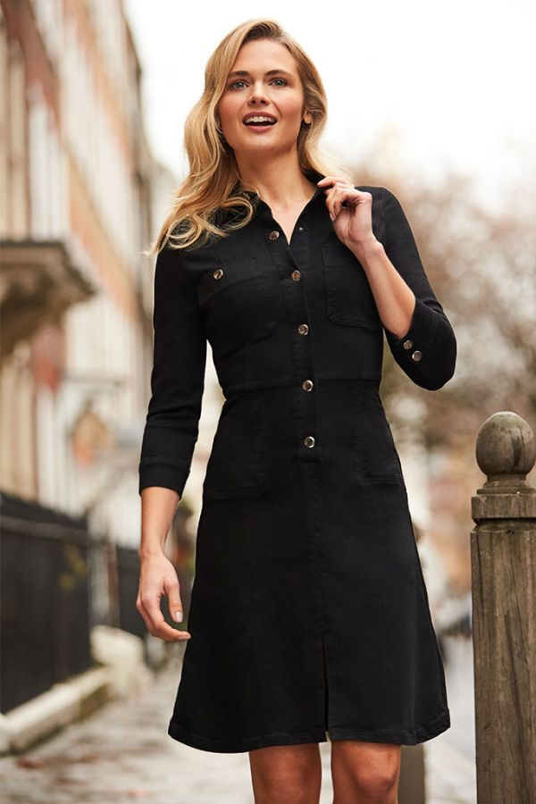 Black Popper Front Denim Dress