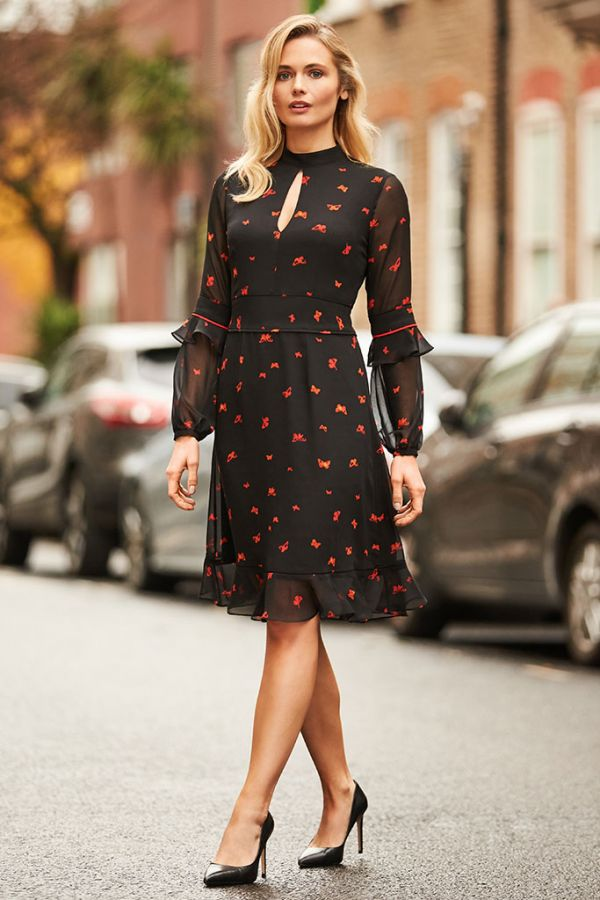 Black & Red Butterfly Print Fit & Flare Ruffle Dress