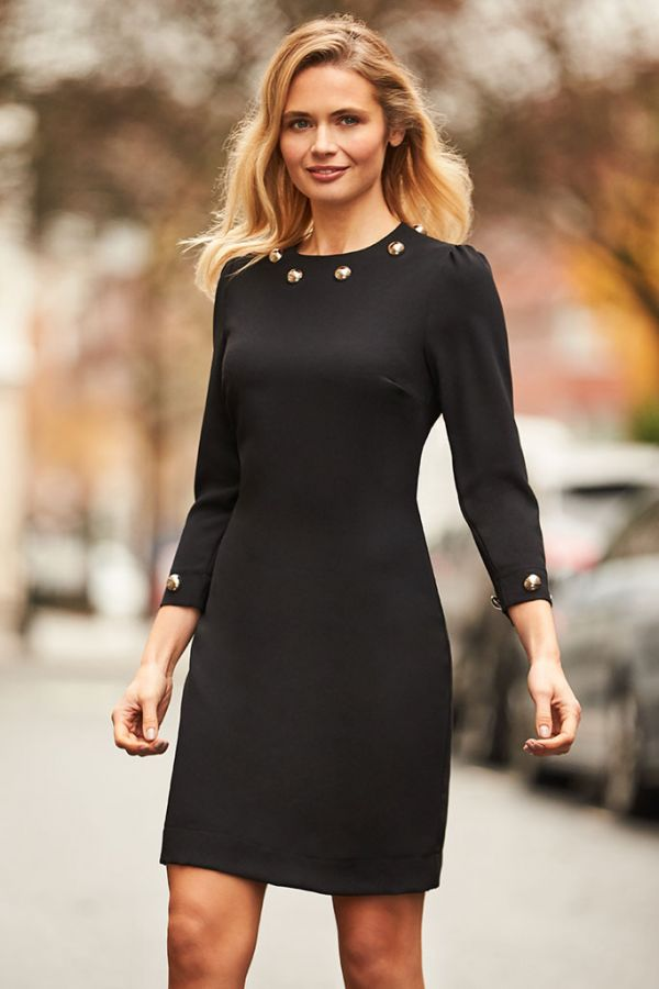 Black Silver Stud Statement Shift Dress