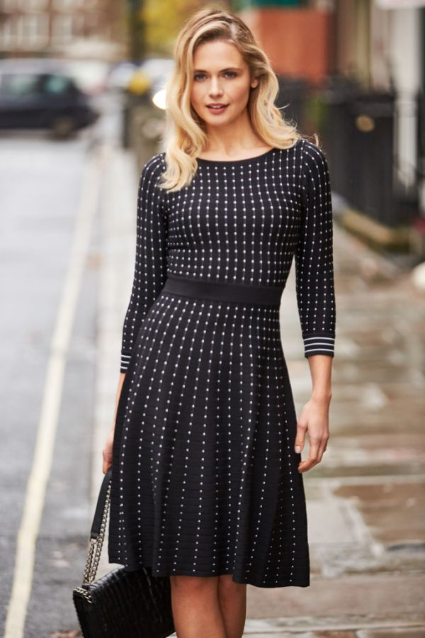 Black & White Spot Knitted Dress