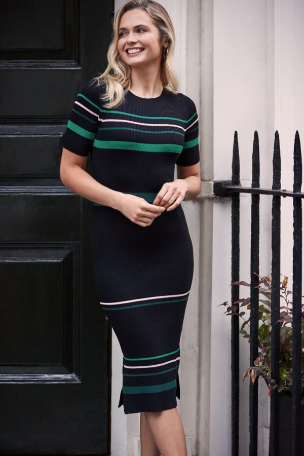 Black & Green Multi Stripe Knitted Dress