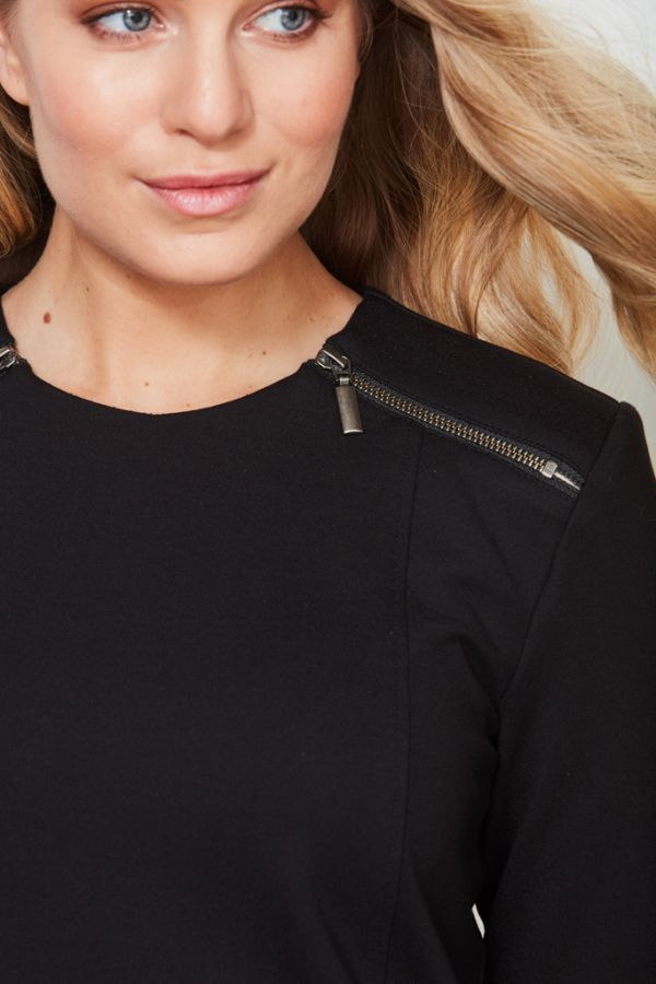 Black Zip Detail Shift Dress