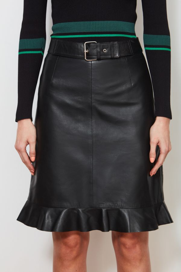 Black Leather Ruffle Hem Skirt