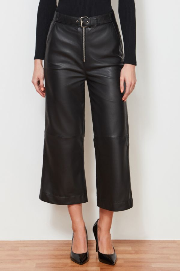 Black Leather Cropped Wide Leg Trouser