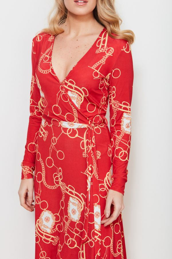 Red Chain Print Faux Wrap Slinky Dress