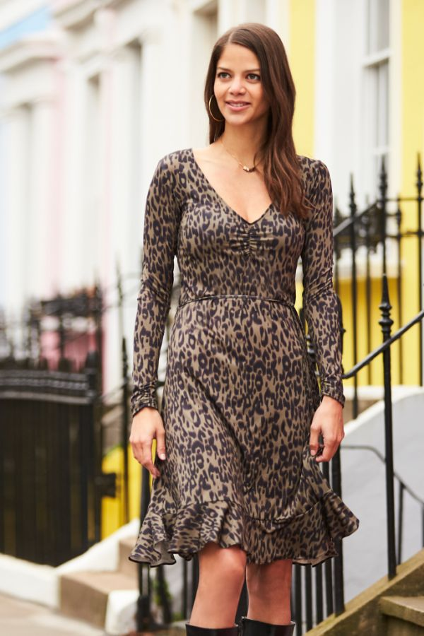 Khaki Leopard Print Slinky Dress
