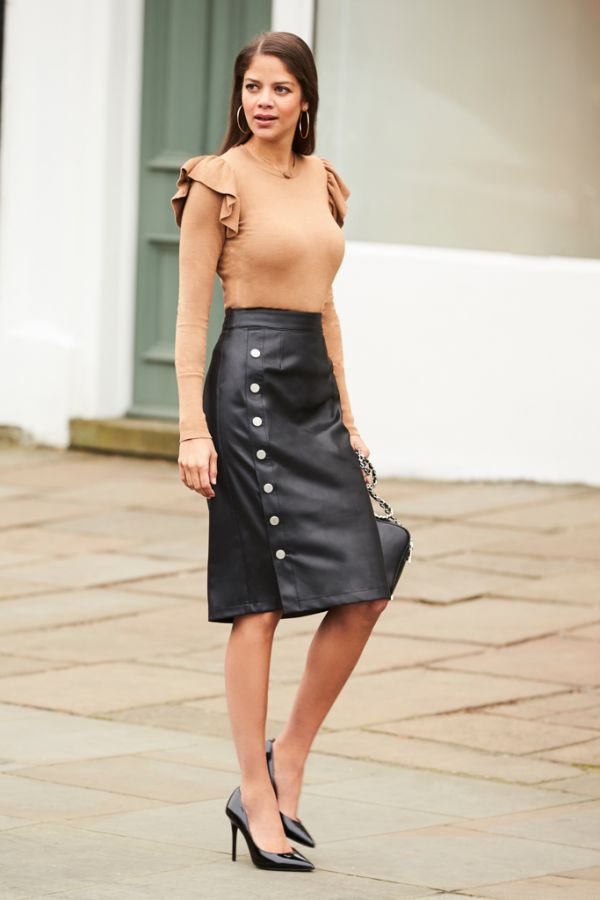 Black Leather Look Stud Detail Skirt