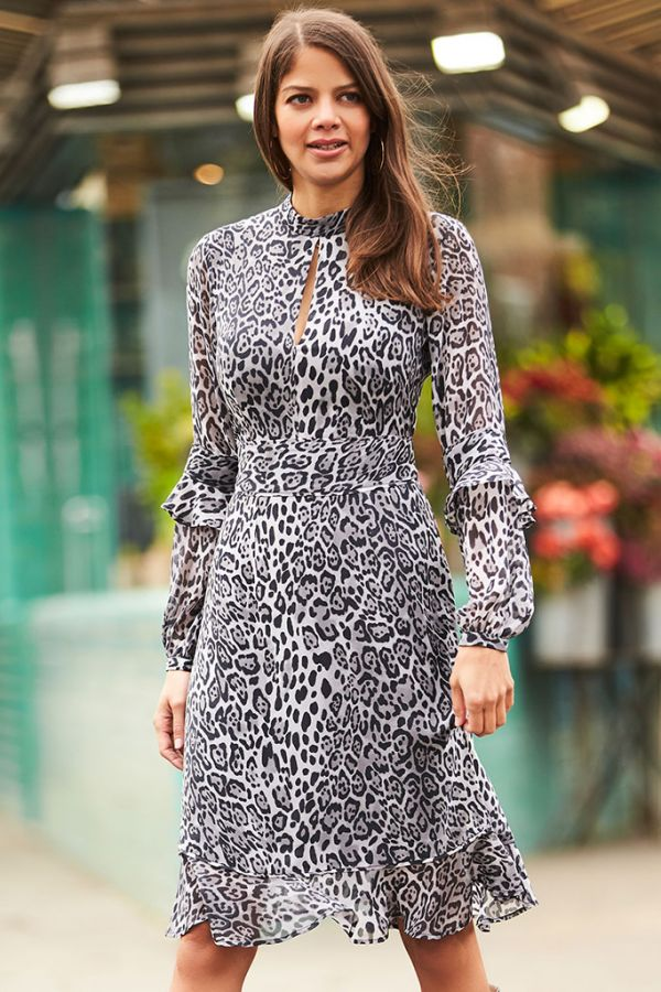 Snow Leopard Print Fit & Flare Ruffle Dress