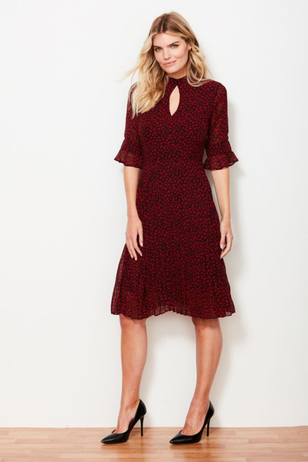 Black & Red Print Pleated Dress