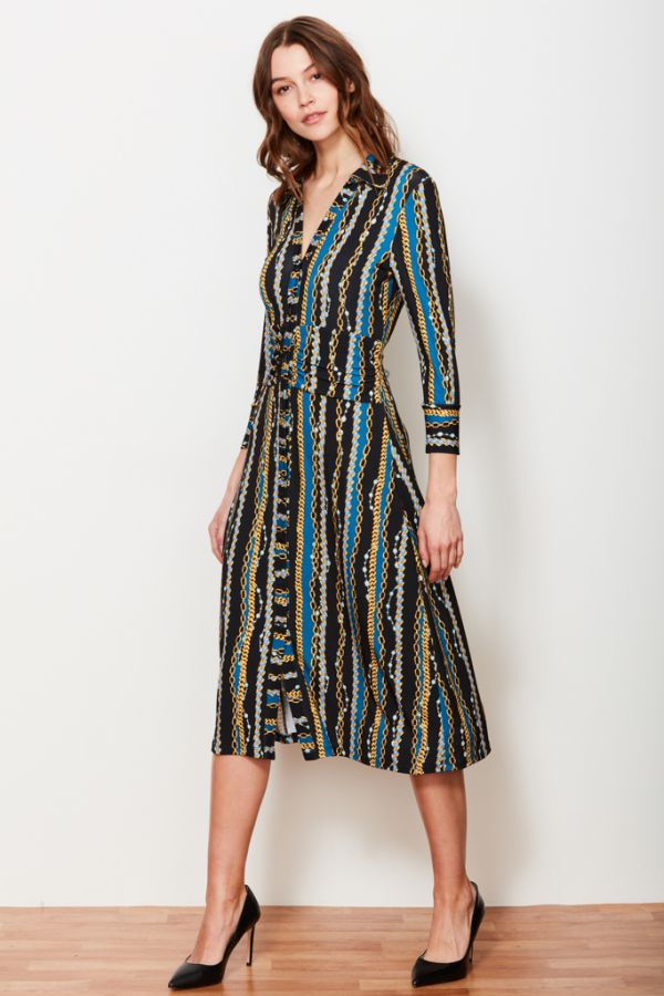 Black & Blue Chain Print Shirt Dress