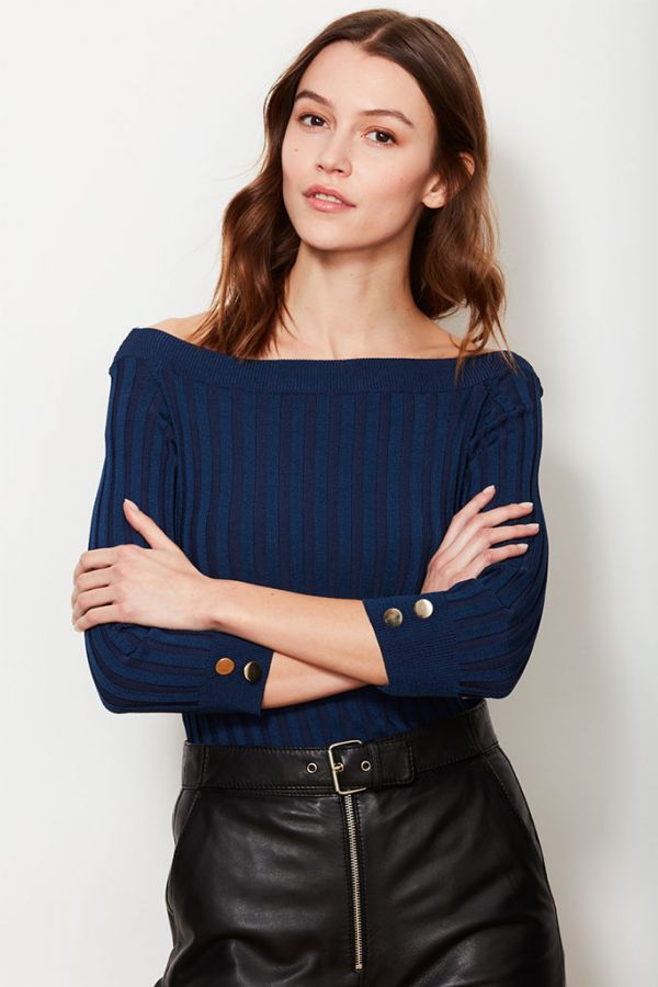Blue Bardot Rib Jumper