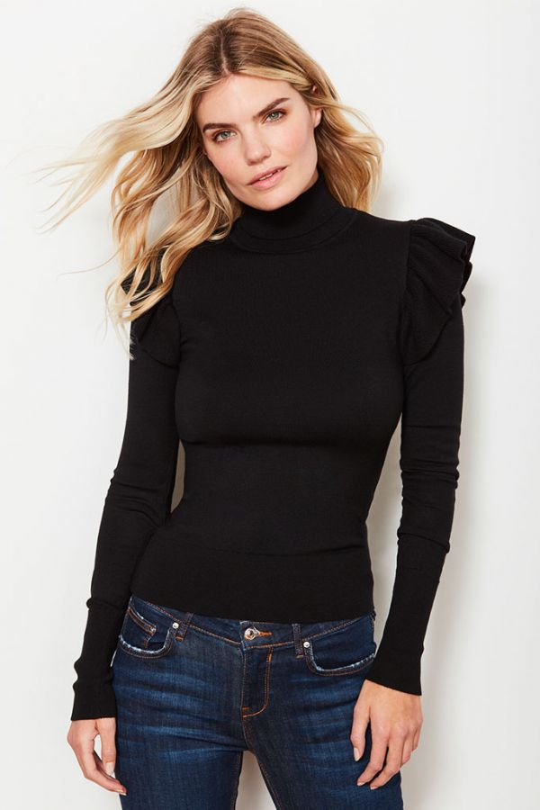 Black Frill Shoulder Detail Roll Neck Jumper