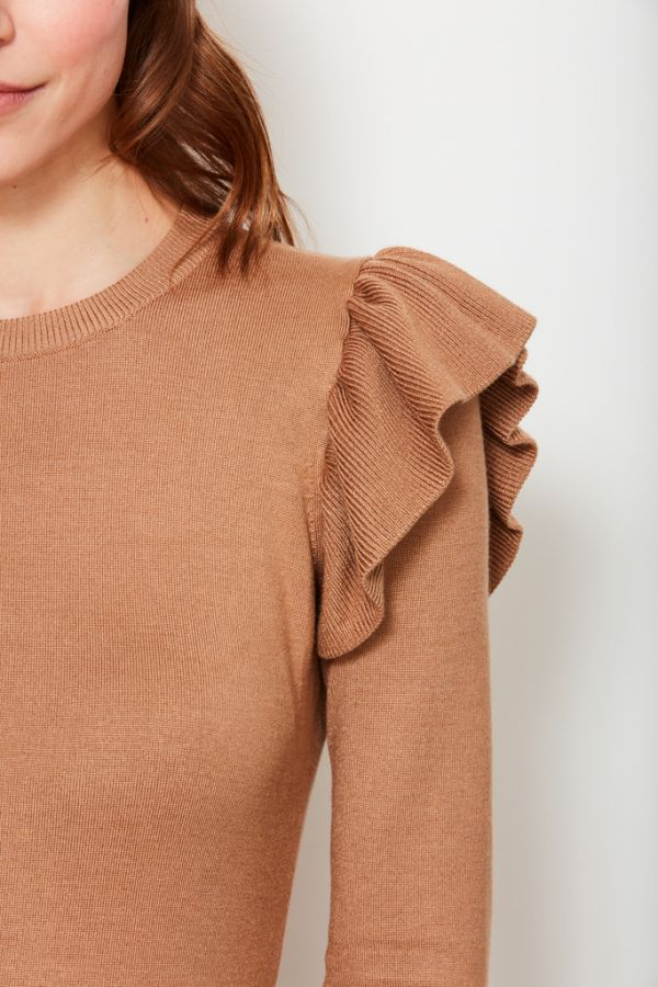 Camel Frill Shoulder Detail Jumper