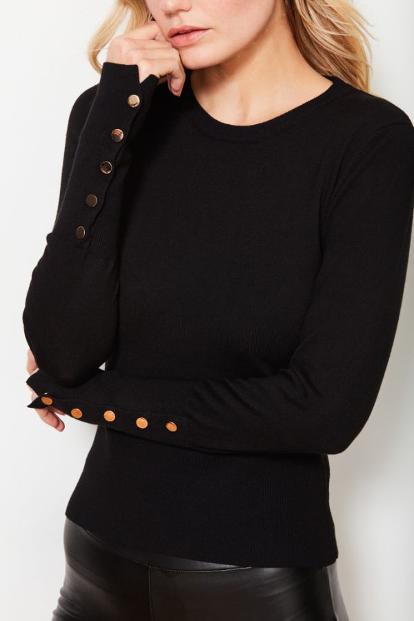 Black Button Cuff Jumper