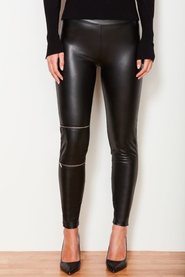 Black Leather Look Knee Zip Detail Legging