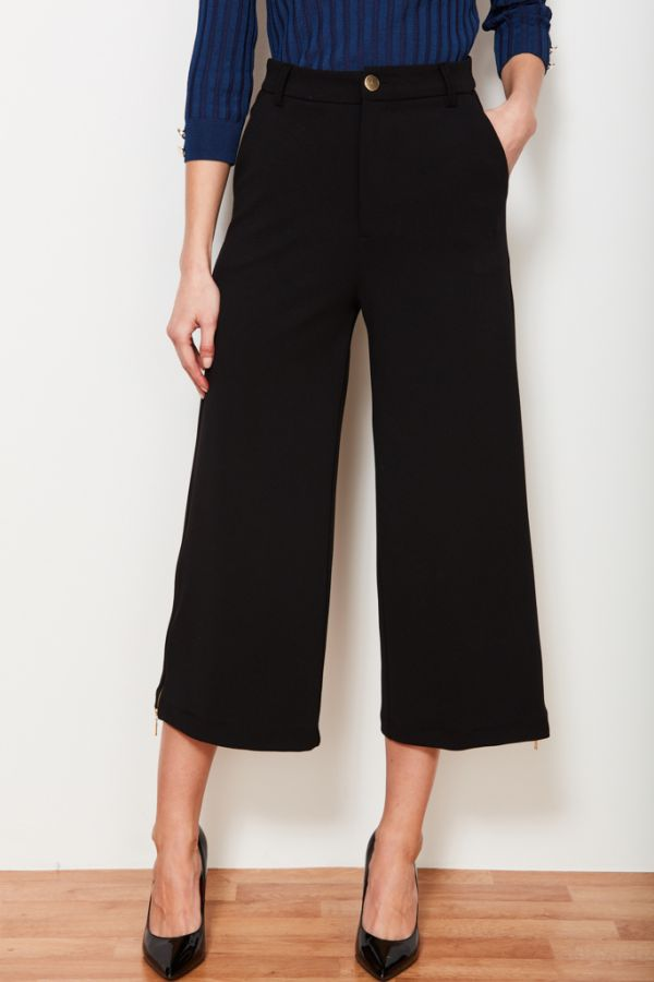 Black Gold Zip Detail Culotte