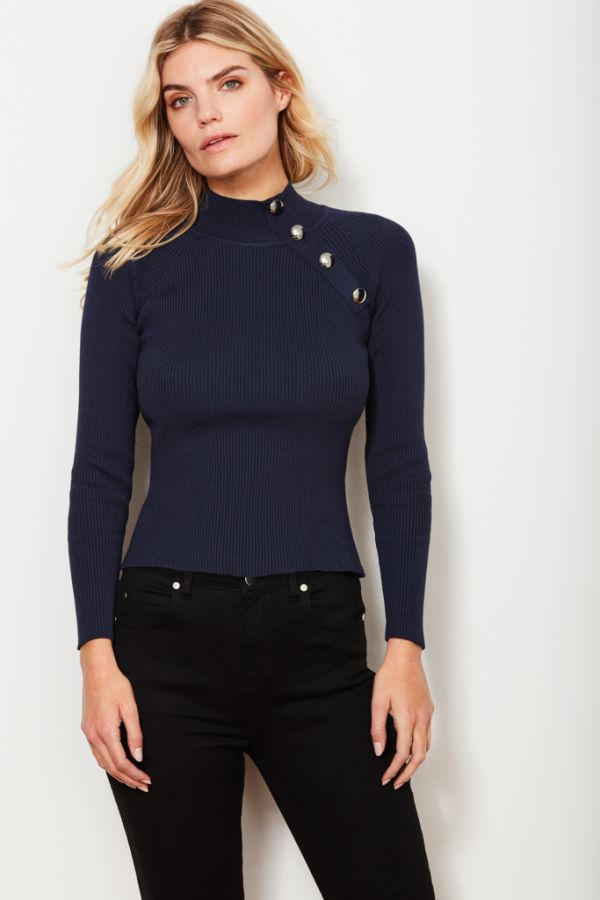 Navy Silver Button Detail Jumper