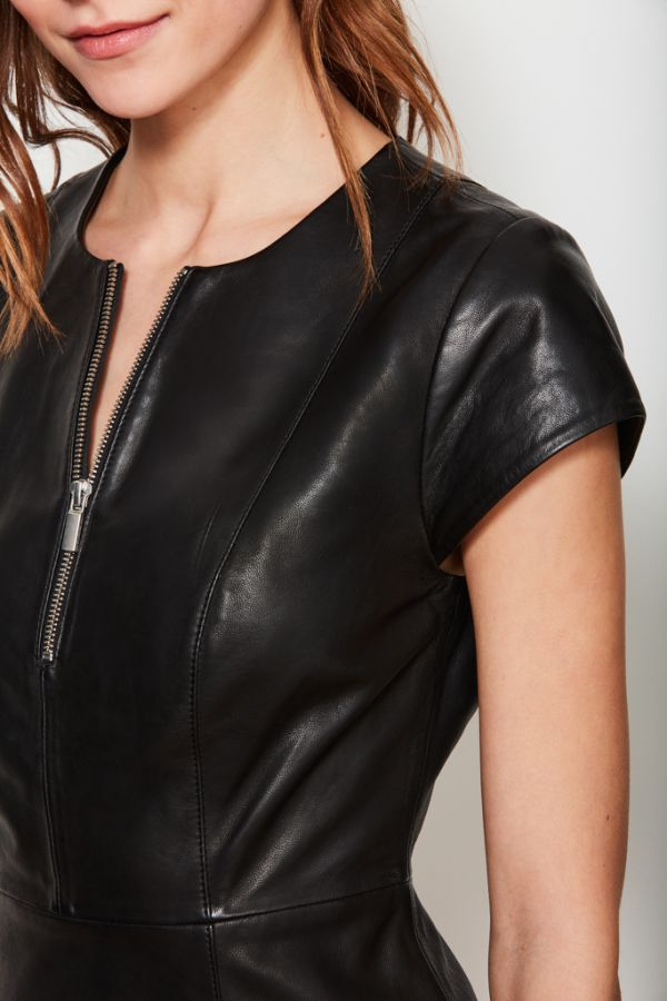 Black Luxury Leather Zip Front A Line Dress
