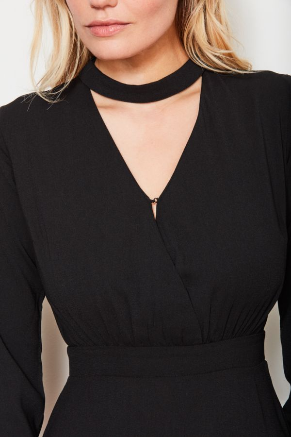 Black Choker V Neck Dress