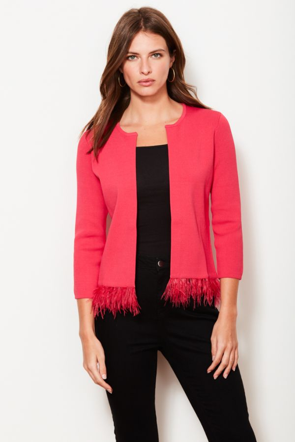 Bright Pink Feather Trim Cardigan