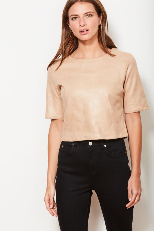 Crackle Leather Look Top