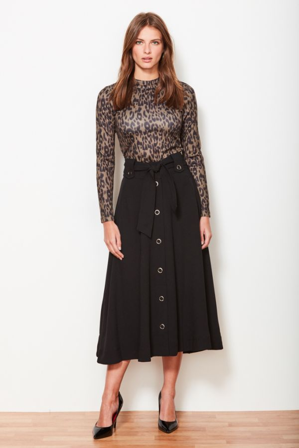 Black Tie Waist Eyelet Trim Flared Skirt