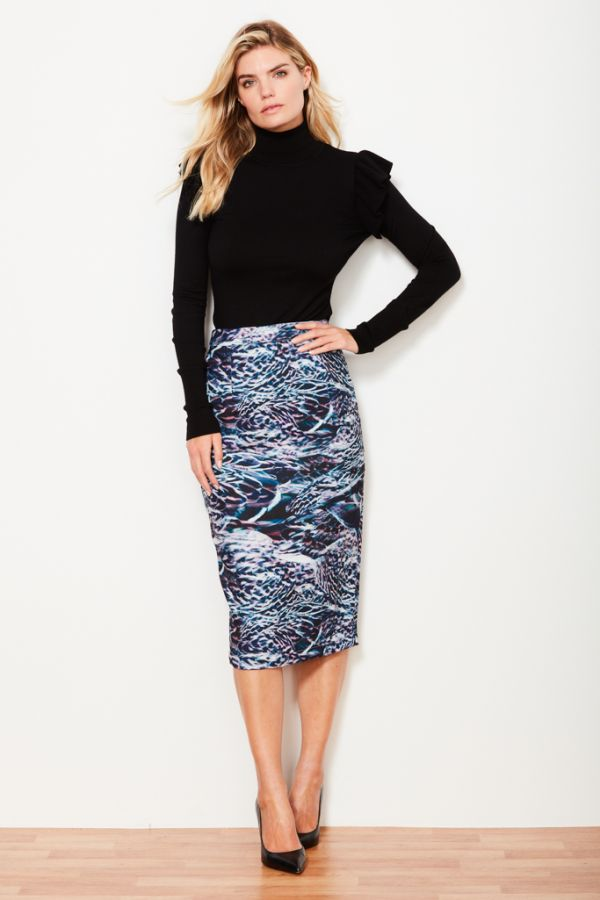 Feather Print Pencil Skirt