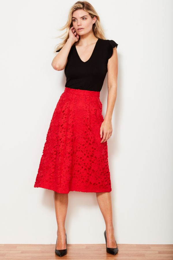 Coral Lace Full Skirt