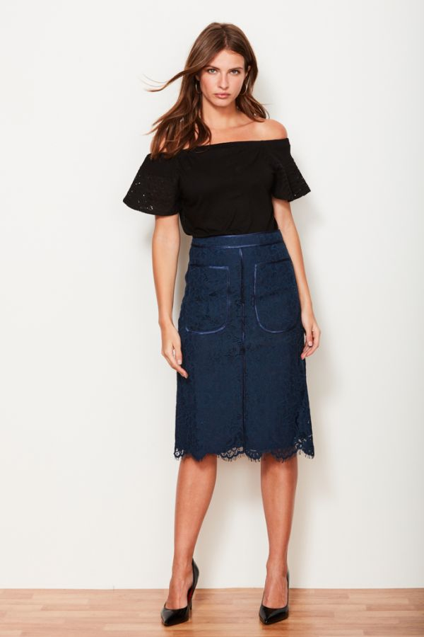Navy Blue Lace Satin Edged Skirt