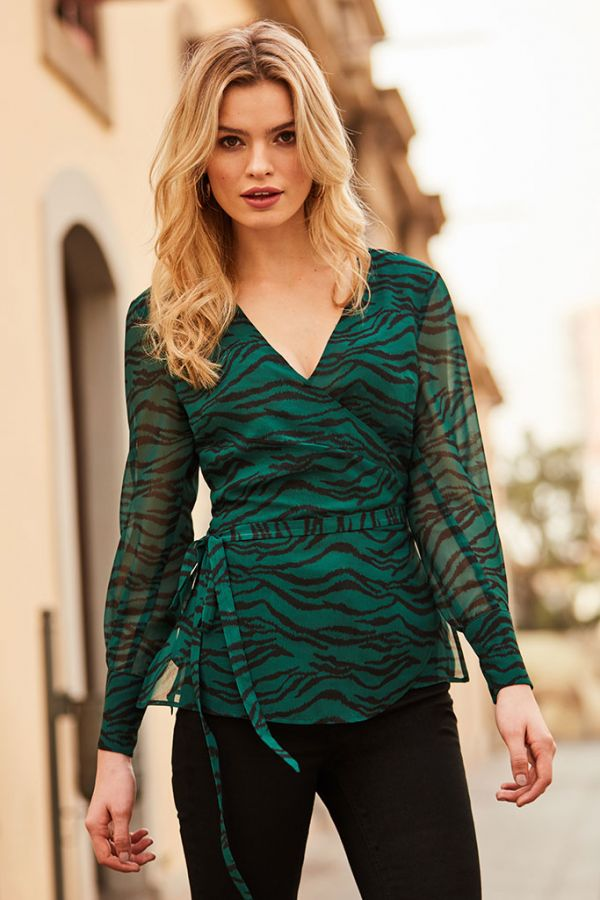 Green Tiger Print Wrap Top