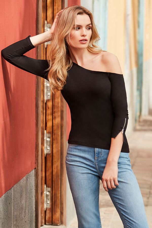 Black Off The Shoulder Zip Cuff Top