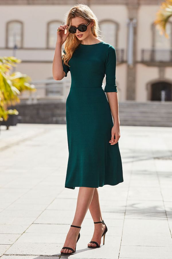 Jade Green Back Tie Ribbed Midi Dress