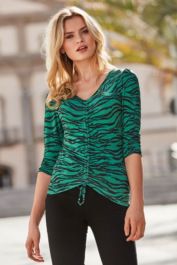 Green Tiger Print Gather Front Top