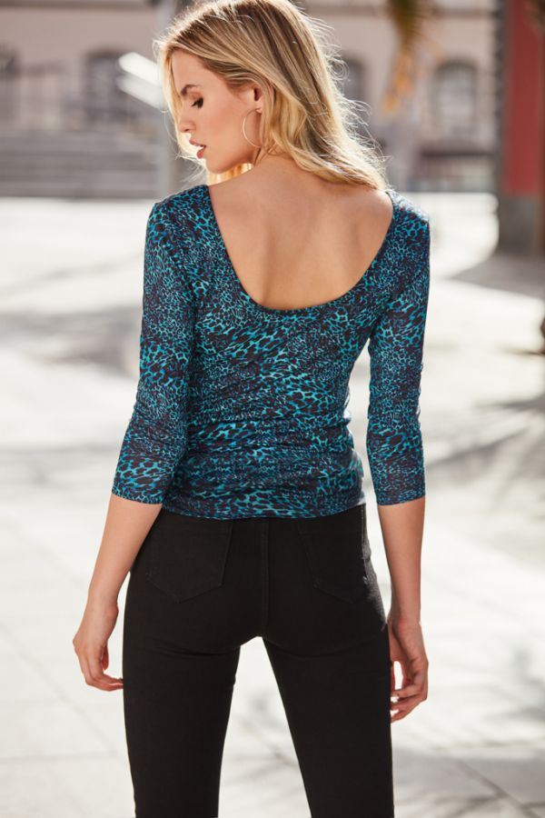 Dark Aqua Animal Print V Neck Top