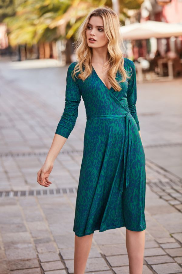 Green & Blue Leopard Print Faux Wrap Dress