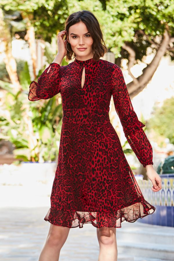Red Leopard Print Fit & Flare Ruffle Dress