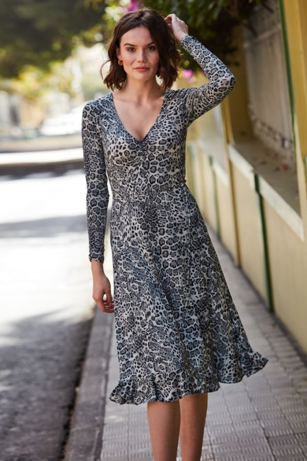 Snow Leopard Print Slinky Midi Dress