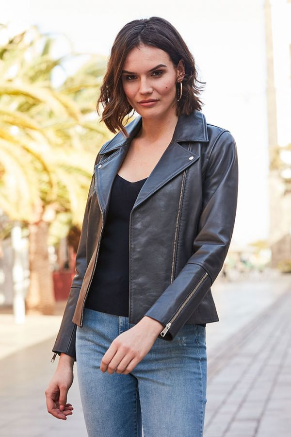 Charcoal Grey Leather Biker Jacket