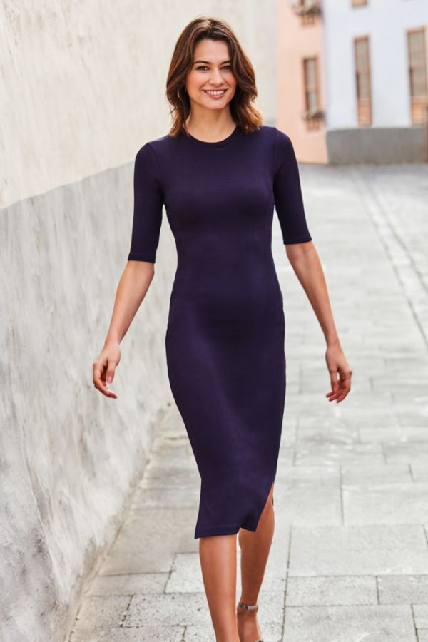 Navy Blue Ribbed Back Detail Midi Dress