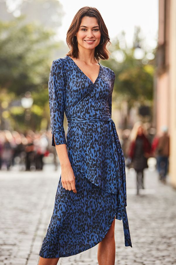 Blue Leopard Print Curved Hem Wrap Dress