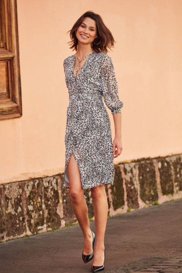 White Leopard Print Fit & Flare Dress