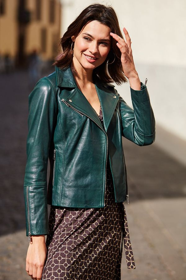 Dark Green Leather Biker Jacket